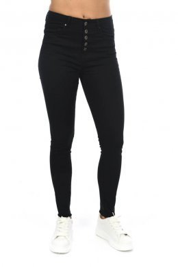 Μαύρο ψηλόμεσο παντελόνι τύπου τζιν με κουμπάκια