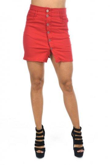 Κόκκινη φούστα τύπου τζιν κοντή με κουμπάκια μπροστά και τσεπάκια