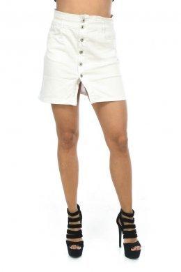 Λευκή φούστα τύπου τζιν κοντή με κουμπάκια μπροστά και τσεπάκια
