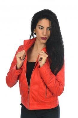 Κόκκινο δερμάτινο jacket με λεπτομέρειες στους ώμους και τσέπες