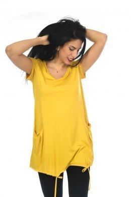 Μπλουζοφόρεμα φαρδύ κοντομάνικο με τσέπες μπροστά