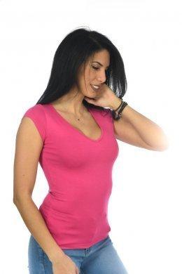 Μπλουζάκι κοντομάνικο με V λαιμόκοψη, μονόχρωμο απλό