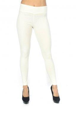 Λευκό τύπου υφασμάτινο παντελόνι-κολάν με τσεπάκια πίσω