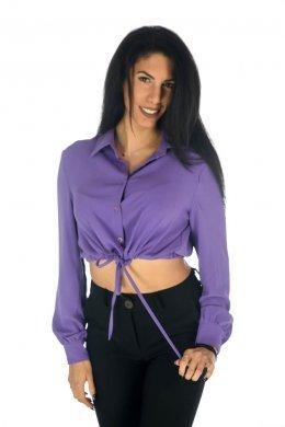Μονόχρωμο πουκάμισο τύπου τοπ με δέσιμο στη μέση