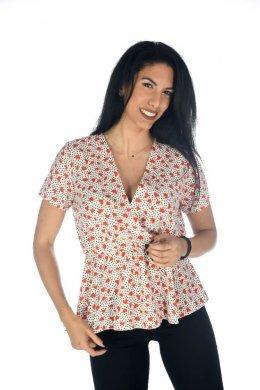Εμπριμέ κρουαζέ μπλουζάκι, κοντομάνικο, σε ιδιαίτερο εμπριμέ σχέδιο
