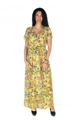 Κίτρινο φλοράλ φόρεμα μακρύ με κρουαζέ λεπτομέρεια