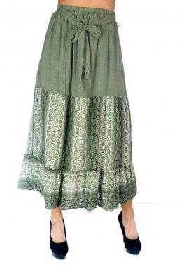 Midi φούστα σε άλφα γραμμή με ζωνάκι στη μέση και εμπριμέ σχέδια