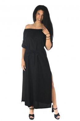 Μαύρο φόρεμα μακρύ με έξω τους ώμους, ζωνάκι και σκισίματα