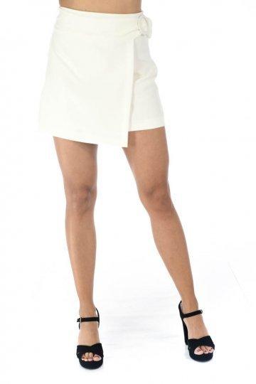 Λευκή mini φούστα με τύπου κρουαζέ σχέδιο μπροστά
