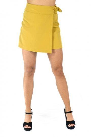 Μουσταρδί mini φούστα με τύπου κρουαζέ σχέδιο μπροστά