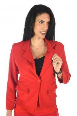 Κοντό κόκκινο σακάκι μεσάτο, με τύπου τσεπάκια και κουμπάκι