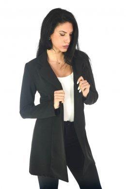 Μακρύ μαύρο σακάκι μεσάτο, σε εφαρμοστή γραμμή, με κουμπάκι