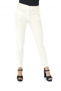 Λεύκο υφασμάτινο παντελόνι γραφείου με τσάκιση