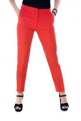 Κόκκινο υφασμάτινο παντελόνι γραφείου με τσάκιση και γύρισμα