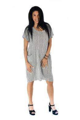 Ριγέ κοντομάνικο φόρεμα, πολύ φαρδύ, ασύμμετρο, με τσεπάκια