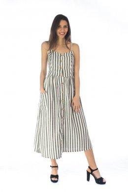 Ριγέ midi φόρεμα ραντάκι, με καφέ κουμπάκια μπροστά και τσεπάκια