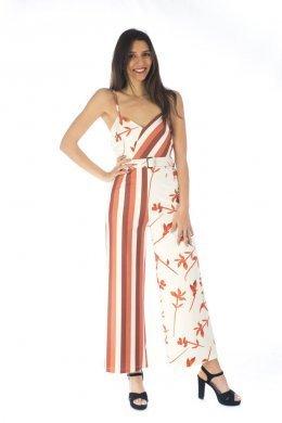 Ολόσωμη μακριά φόρμα σε ριγέ και φλοράλ σχέδιο