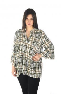 Καρό πουκάμισο μακρυμάνικο με πιέτα στο μπούστο και τύπου βολάν
