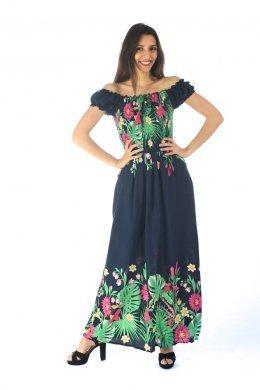 Μπλε μακρύ φόρεμα με έξω τους ώμους και φλοράλ λεπτομέρειες