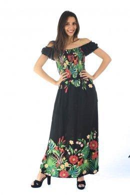 Μαύρο μακρύ φόρεμα με έξω τους ώμους και φλοράλ λεπτομέρειες