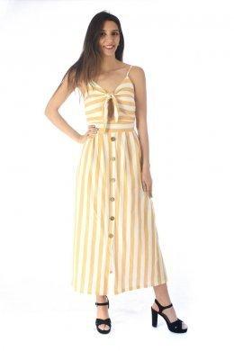 Ριγέ midi φόρεμα με δέσιμο στο μπούστο και κουμπάκια μπροστά
