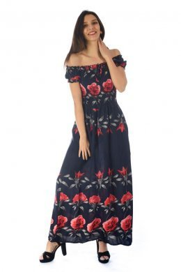 Μπλε μακρύ φόρεμα με κόκκινα λουλουδάτα σχέδια και έξω τους ώμους.