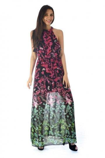 Φόρεμα φλοράλ με βολάν στο μπούστο και ημιδιαφάνεια στα πόδια