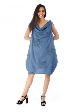 Αμάνικο κοντό φόρεμα με φαρδύ γιακά, σε άλφα γραμμή με τύπωμα