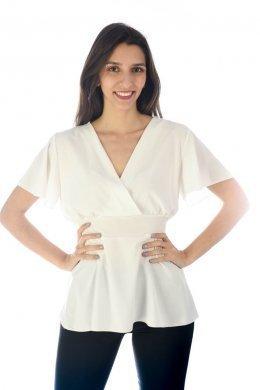 Κοντομάνικο κρουαζέ μπλουζάκι με δέσιμο πίσω στη μέση