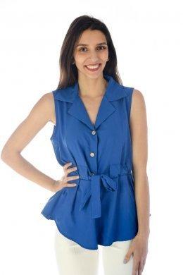 99346d46d06c Αμάνικο πουκάμισο τύπου μπλούζα μονόχρωμο με ενσωματωμένο ζωνάκι