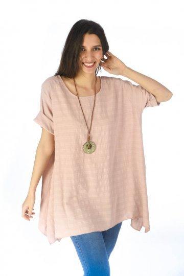 Φαρδιά μπλούζα ασύμμετρη με μύτες στα πλάγια και κολιέ στο λαιμό