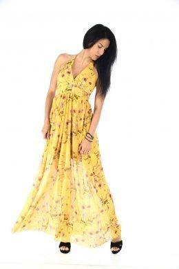 Μακρύ φόρεμα φλοράλ με δέσιμο στο λαιμό και ημιδιαφάνεια στα πόδια