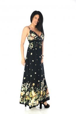 Μαύρο φόρεμα ραντάκι με φλοράλ λεπτομέρειες και εντυπωσιακό μπούστο