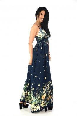 Μπλε φόρεμα ραντάκι με φλοράλ λεπτομέρειες και εντυπωσιακό μπούστο