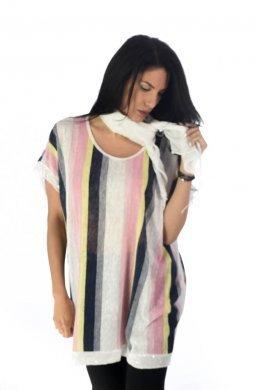 Ριγέ φαρδιά μπλούζα με φουλάρι και πούλιες στα μανικάκια και στο τελείωμα.