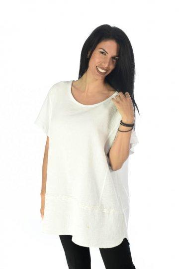 Φαρδιά μπλούζα με ρίγα με πούλιες μπροστά και λεπτομέρεια