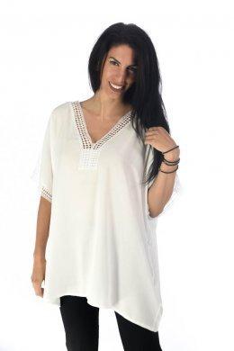 Φαρδιά μπλούζα με κεντήματα και τρυπητές λεπτομέρειες