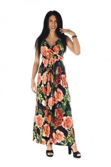 Μπλε maxi φόρεμα με κόκκινα μεγάλα λουλούδια και κρουαζέ μπούστο