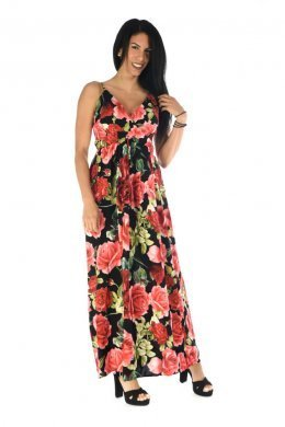 Μαύρο maxi φόρεμα με κόκκινα μεγάλα λουλούδια και κρουαζέ μπούστο