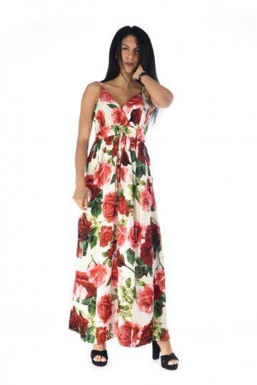 Λευκό maxi φόρεμα με κόκκινα μεγάλα λουλούδια και κρουαζέ μπούστο