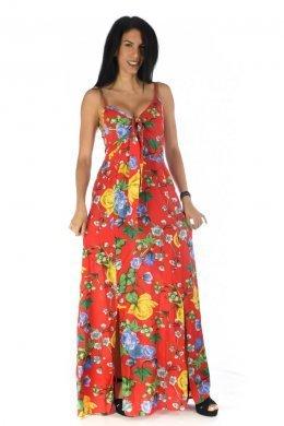 Φλοράλ κόκκινο φόρεμα με δέσιμο στο μπούστο και σκισίματα μπροστά.