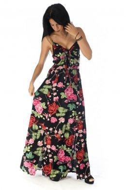 Φλοράλ μαύρο φόρεμα με δέσιμο στο μπούστο και σκισίματα μπροστά.