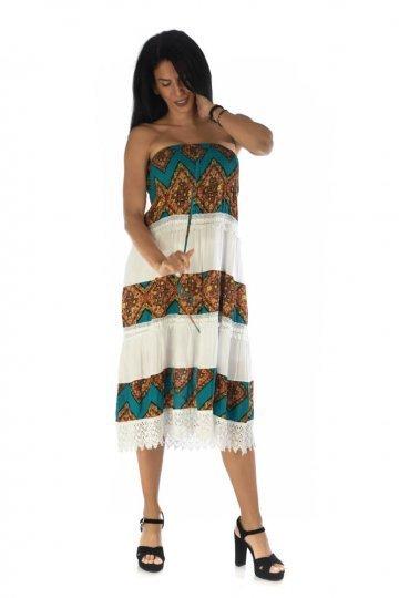 Φόρεμα - φούστα λευκή με ριγές σε εμπριμέ σχέδιο και κορδόνι μπροστά