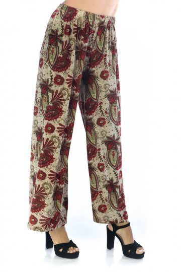 Κόκκινο ψηλόμεση εμπριμέ παντελόνα, με λάστιχο στη μέση.