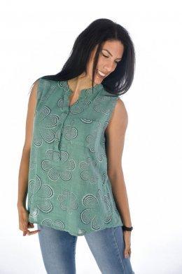 Αμάνικο πουκάμισο φλοράλ με κουμπάκια και τσεπάκι στο μπούστο