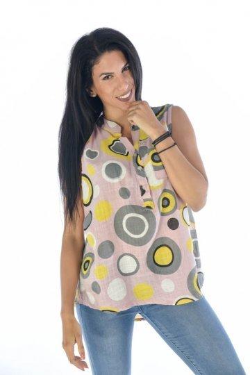 Αμάνικο πουκάμισο εμπριμέ με κύκλους, κουμπάκια και τσεπάκι