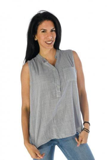 Αμάνικο πουκάμισο τύπου λινό μονόχρωμο, με τσεπάκι
