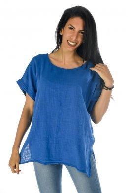 Μονόχρωμη κοντομάνικη μπλούζα λινή φαρδιά, ασύμμετρη