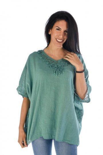 Φαρδιά κοντομάνικη μπλούζα λινή με εντυπωσιακό κέντημα