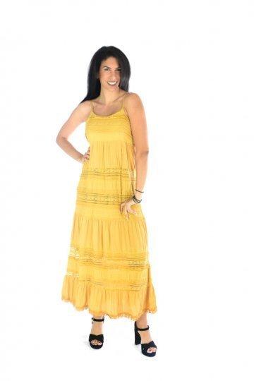 Μουσταρδί midi φόρεμα ραντάκι με ημιδιάφανες λεπτομέρειες